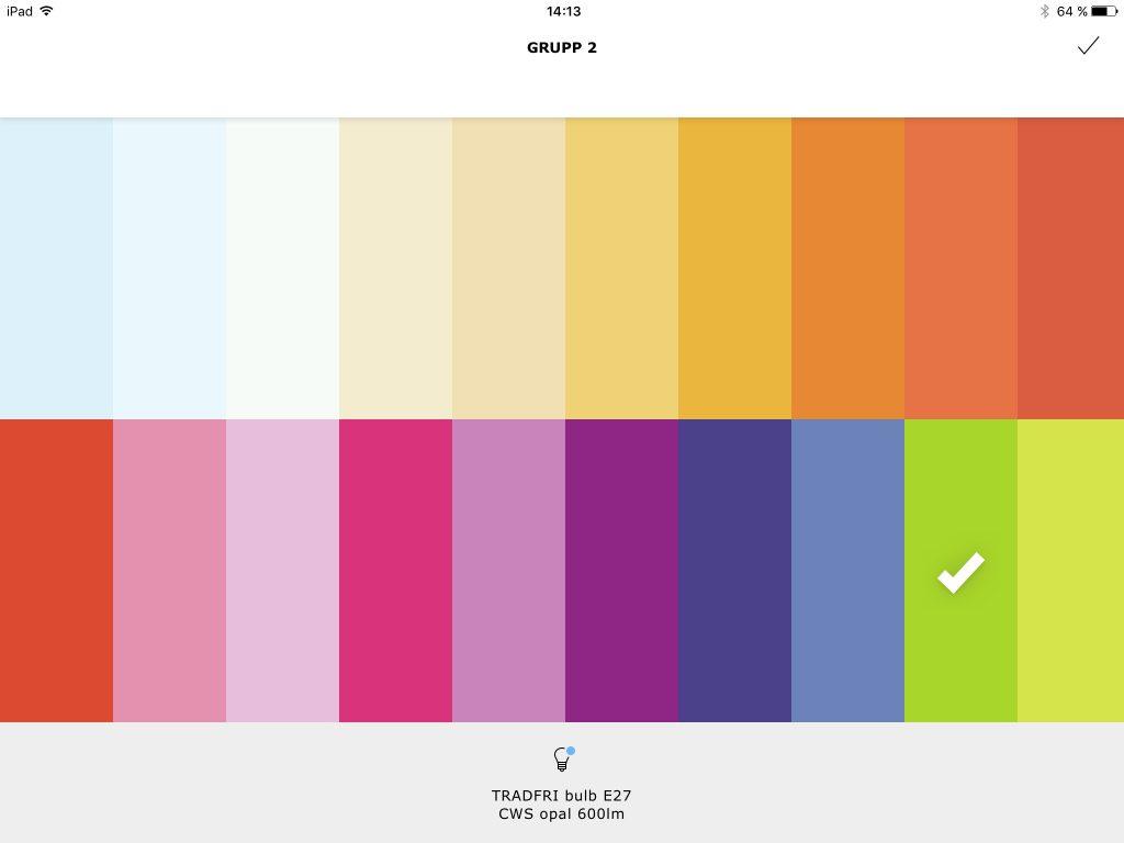 Med appen går det även att välja färger och bygga egna stämningar baserat på färg och dimning.