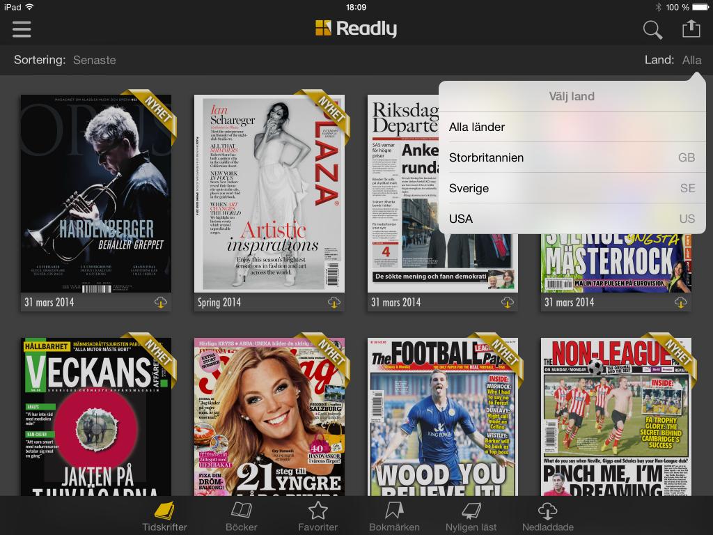 Nu kan du även läsa brittiska och amerikanska tidningar i Readly jämte de svenska. Totalt handlar det om cirka 400 titlar.