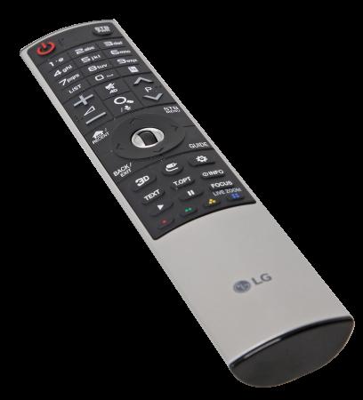 Fjärrkontrollen kan även fungera som muspekare och styra en markör på tv:n med rörelser.
