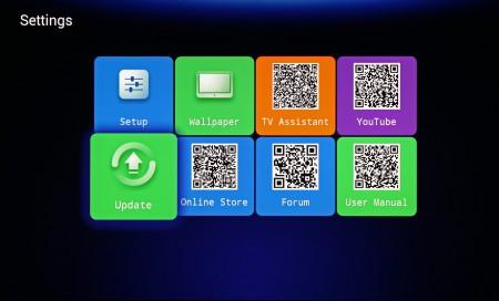 Enkla inställningar i Mele med online-hjälp. De svartvita konstverken är QR-koder som du kan läsa av med en QR-läsare i din telefon för att komma åt innehållet.