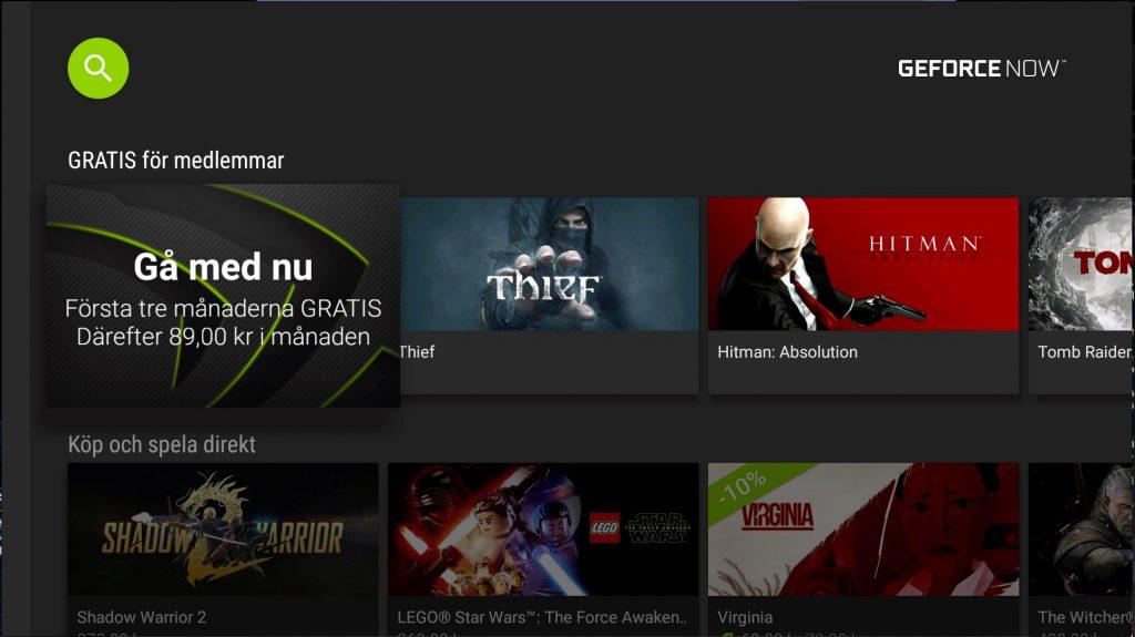 GeforceNow är Nvidias online-speltjänst där du kan spela strömmande.