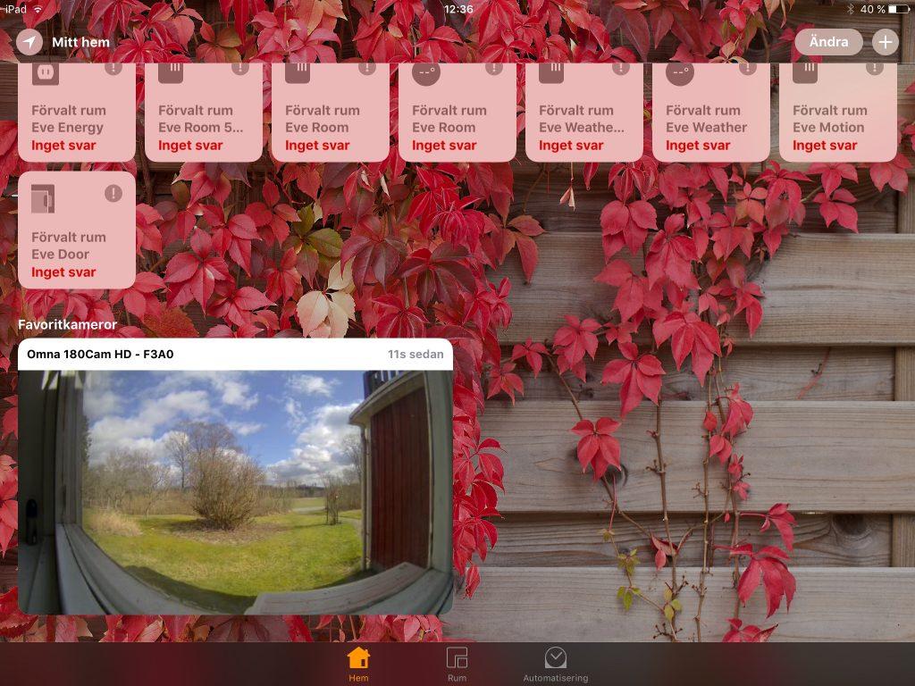 Installerad i HomeKit blir Omna 180 Cam en enhet bland andra som kan visas och till viss del användas i HomeKits scenarier och händelsescheman.