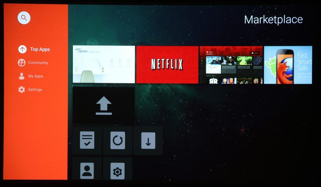 Optoma UHL55 har inte bara ett eget menysystem, det finns även ett antal appar och en av dem heter Marketplace och innehåller ett antal strömningstjänster som till exempel Netflix.