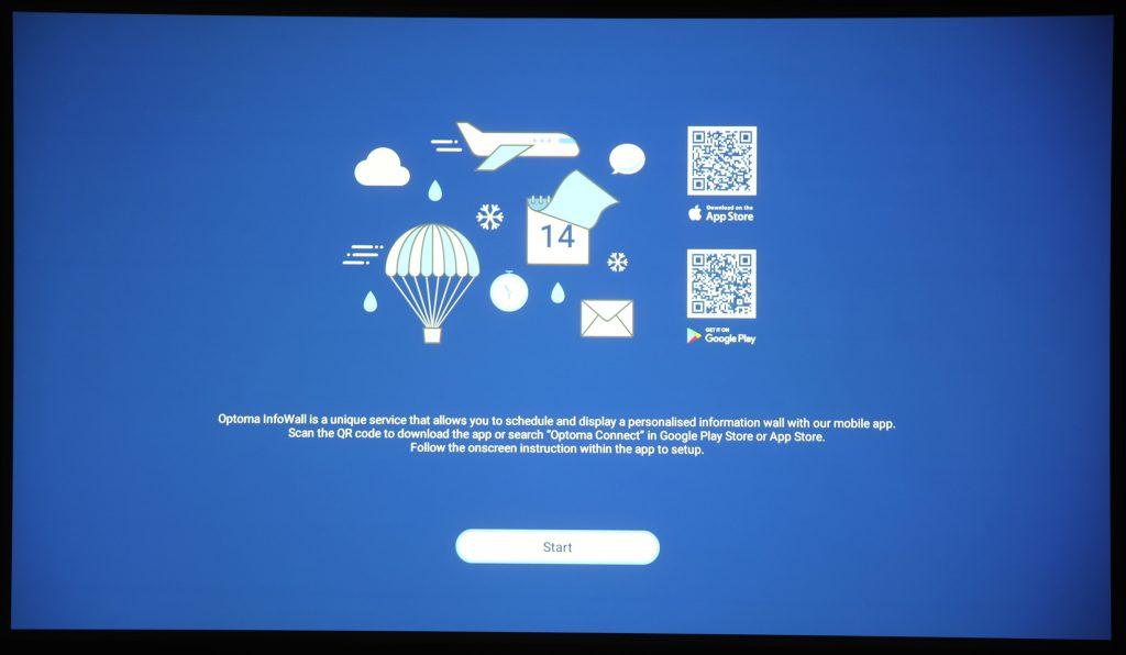 Optomas Infowall är en annan egen tjänst som gör det möjligt att använda projektorn som en egen informationstjänst där du kan styra innehållet på distans med en speciell app i din mobil.