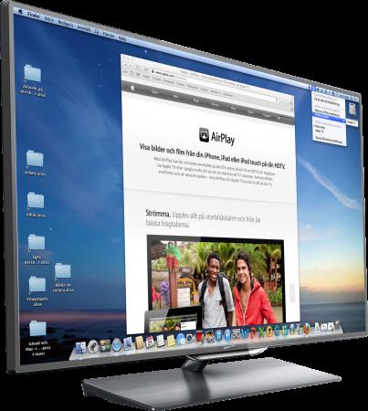 Med Airplay kan du spela upp bild och ljud på en teve.