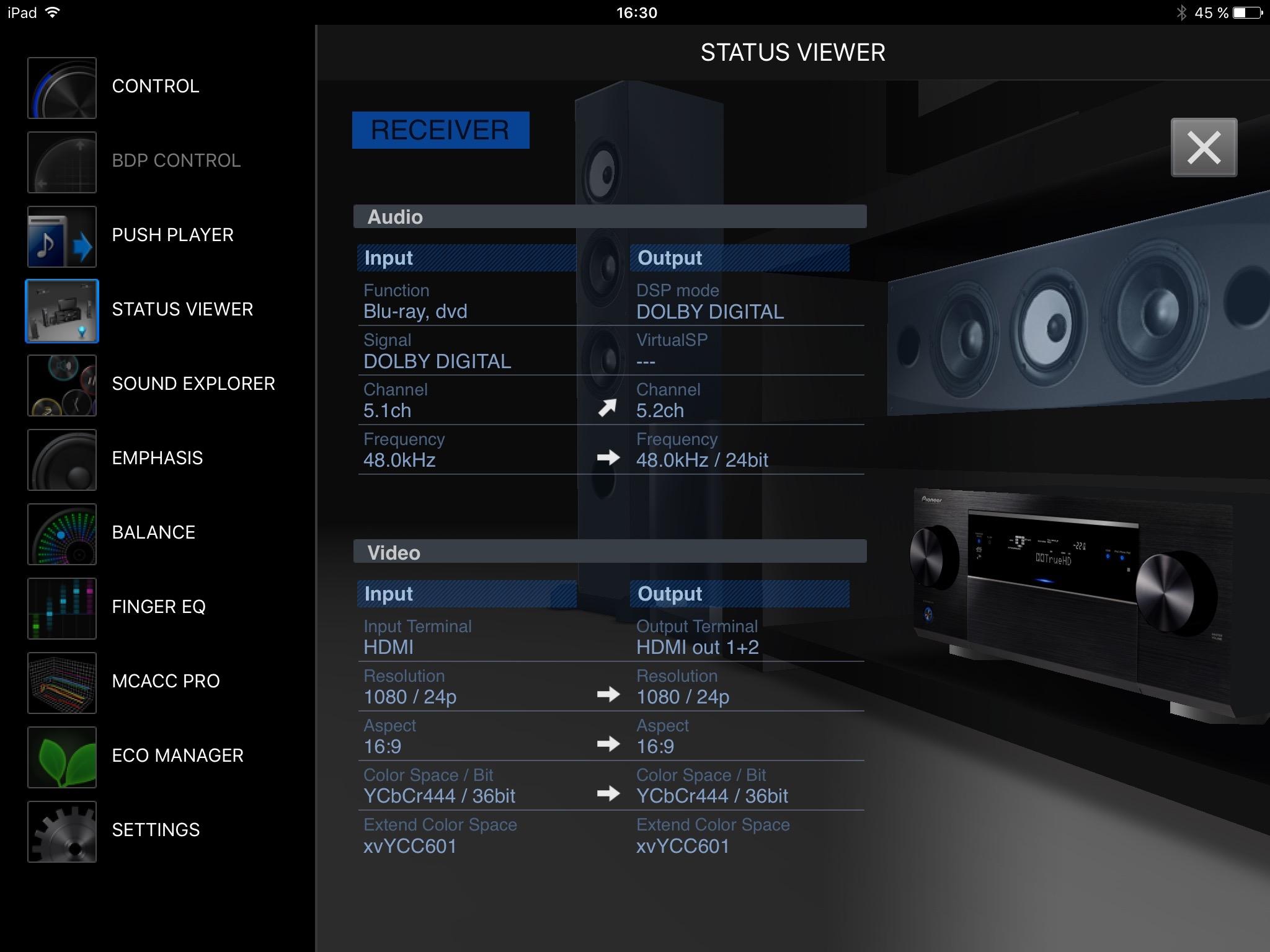 Med appen iControlAV5 installerad i din telefon och/eller surfplatta får du full koll och kan både styra och läsa av receiverns alla funktioner och möjligheter. Här visas hur en Blu-ray-film spelas upp i både ljud och bild.