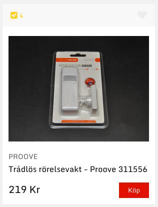 Prooves trådlösa rörelsevakt, som ingår i Telldus Monitor-paket, säljs bland annat av m.nu för 219 kr.