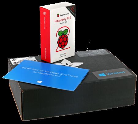 Starter Pack for Windows 10 IoT Core med Raspberry Pi 2 är ett utvecklarpaket innehållande komponenter och programvara för att bygga Internet of things med Windows 10.