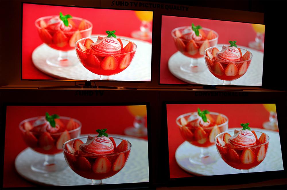 Fyra olika skärmtyper med samma bild. Samsung S UHD uppe till vänster, LED-lcd uppe till höger, OLED nere till vänster och plasma nere till höger.