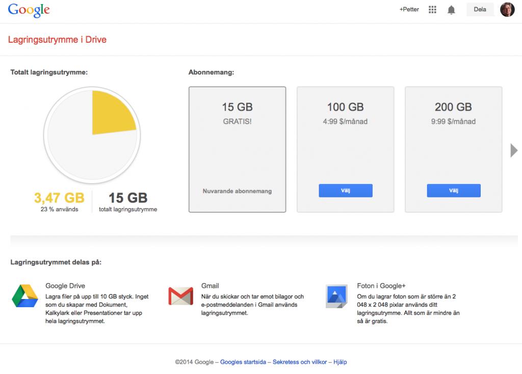 Google Drive ger fri tillgång till mer utrymme och framförallt möjlighet till större filstorlekar som det ofta handlar om med underhållning.