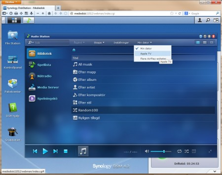 I Synologys senaste uppdatering av sitt NAS-operativ – DiskStation 4.2, infördes även Airplay som ett alternativt uppspelningssätt från apparna Audio Station och Video Station. Det innebär att man kan spela upp innehåll från en Synology-NAS strömmande även från en Windows-dator till en Airplay-enhet.