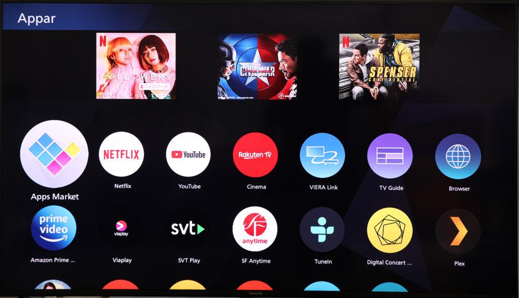 I Panasonics fall är det smarta systemet lite annorlunda, men det går alldeles utmärkt att se på såväl SVT Play som Netflix direkt i TX-65HX940 med snabbknappar från fjärrkontrollen.