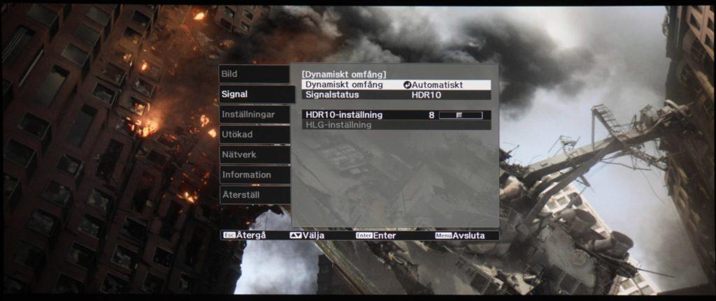 Dynamiskt omfång innebär val av HDR-läge som kan vara automatiskt, SD (av), HDR10 eller HLG. Automatiken fungerar fint och snäpper på HDR-funktionen när HDR finns i insignalen. HDR-inställningen avser hur stor HDR-effekten ska vara.