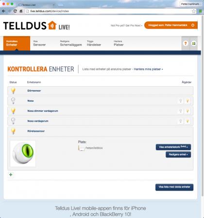 I Telldus Live-tjänst kan du övervaka och styra strömbrytare och sensorer, men även schemalägga händelser och skapa händelsescenarion som exempelvis att starta eller stänga av ett element beroende på vad en temperatursensor rapporterar för värden.
