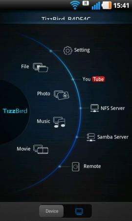 Med TizzRemote i din Android-telefon kan du både fjärrstyra TizzBird och strömma underhållning till tv:n.