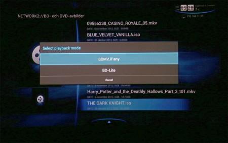 Stödet för olika mediefiler är suveränt. Här en skivavbild från Blu-ray som spelas upp via nätverk.