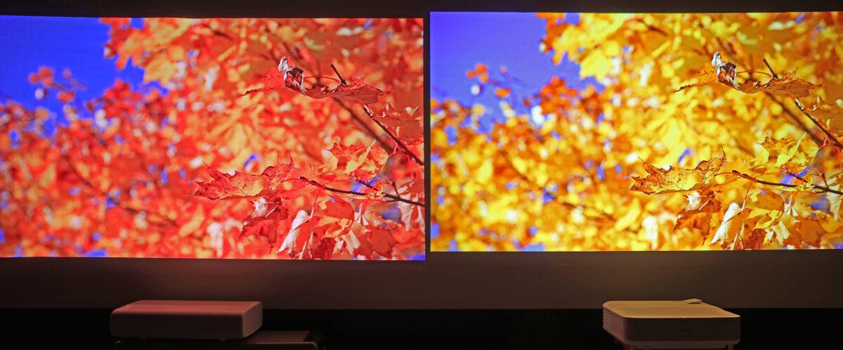 Rött eller gult ljus? Nej, här är det faktiskt kameran som ljuger eftersom den har svårare att uppfånga laserljuset korrekt. För ögat ser faktiskt dessa bilder snarlika ut.
