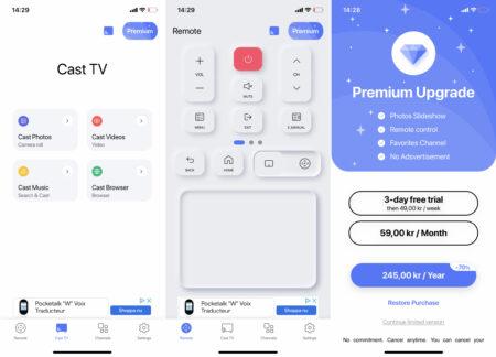 Samsung har byggt in stöd för Airplay och den egna appen Smart Things som gör att man kan ansluta till, strömma underhållning och sköta det mesta direkt från mobilen. Men som visas i dessa tre skärmbilder vill Samsung gärna ta betalt för tjänsterna och visar reklam i den begränsade versionen.