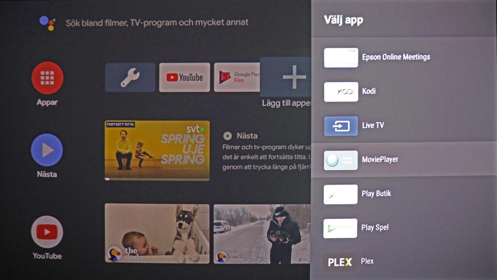 Med Android som TV-operativ har Epson LS300 nära till smarta tjänster och underhållning och kan enkelt kompletteras med fler. Men det krävs mer eller mindre ett Google-konto för att kunna dra nytta av möjligheterna.