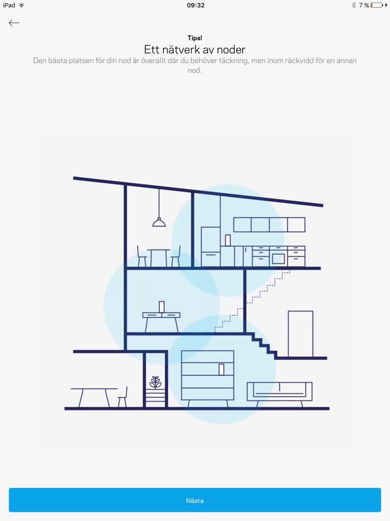 Installation och igångsättning med hjälp av Velop-appen som även ger tips och råd på placeringar.