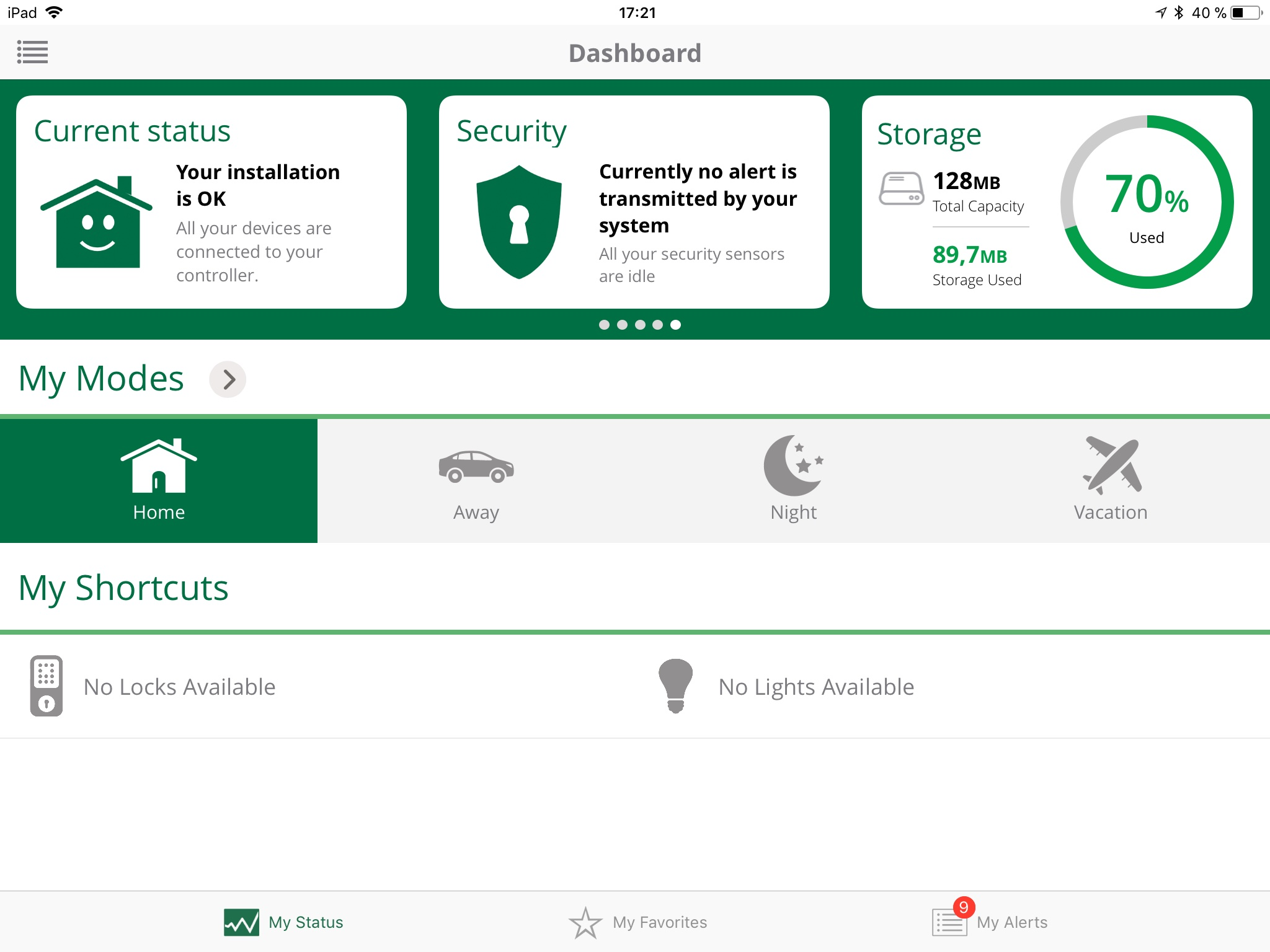 Dashboard är Verans kontrollpanel, här visad i appen där man hittar alla undersidor via menyknappen längst uppe till vänster.
