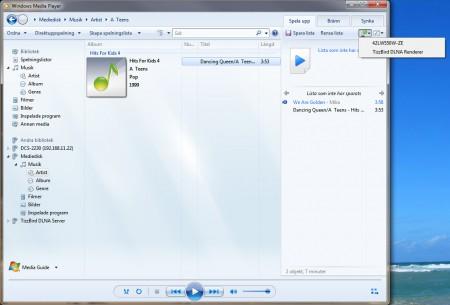 Windows Media Player kan också spela upp strömmande till andra enheter med DLNA-stöd.