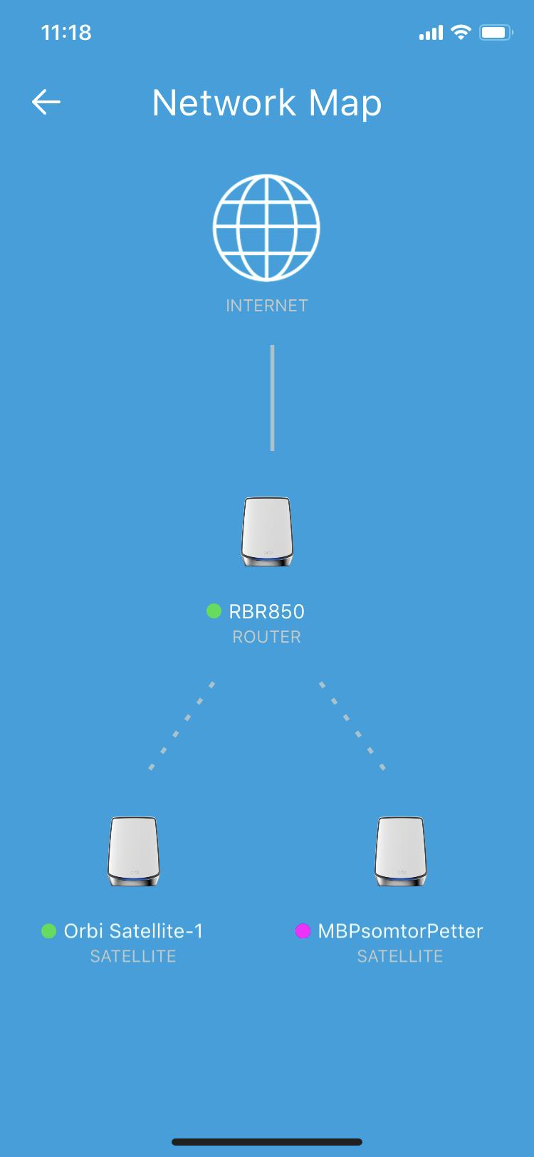 Orbis nätverkskarta är ganska knapphändig jämfört med Unifi Networks, men det är ju även en fråga om vad man behöver och vill veta.