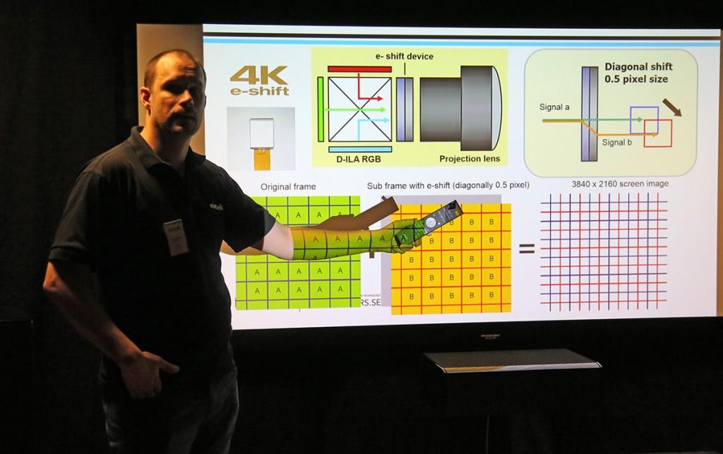 Så här fungerar JVC:s e-shift-teknik: För varje bild räknas en ny bild fram i realtid som förskjuts i höjd och sidled en halv pixel. Bilderna visas dubbelt och på så sätt skapas en simulerad 4K-bild med skarpare kanter och en slätare yta med färre artefakter och bieffekter i bilden.