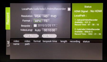 När man spelar in via Xtreamer Prodigy 4K:s hdmi-ingång kan man välja upplösning och format. Komprimeringen görs dock med HEVC/H.265 oavsett val.