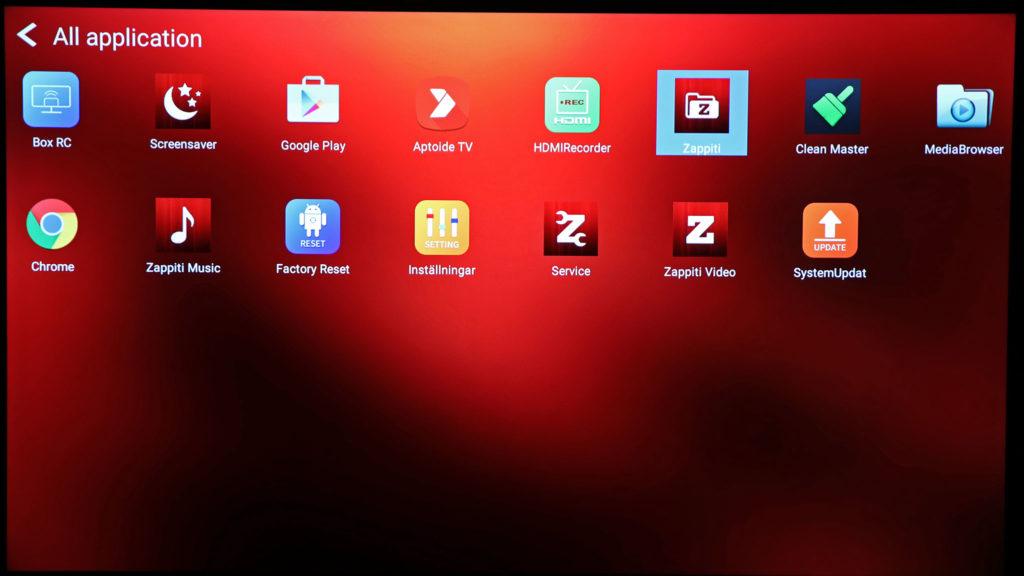 I grunden vilar Zappiti på Android och som sådan enhet finns även ett ytterligare utbud med appar och möjligheter utanför Zappitis mediespelarvärld.