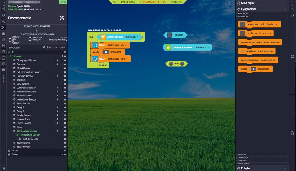 När du ansluter till My Zipato via en webbläsare öppnar sig stora möjligheter. Du kan dels göra allt som kan göras från Zipatile själv, men i webbtjänsten kan du även bygga egna regler och skapa avancerade scenarier med hjälp av Scratch-liknande byggstenar.