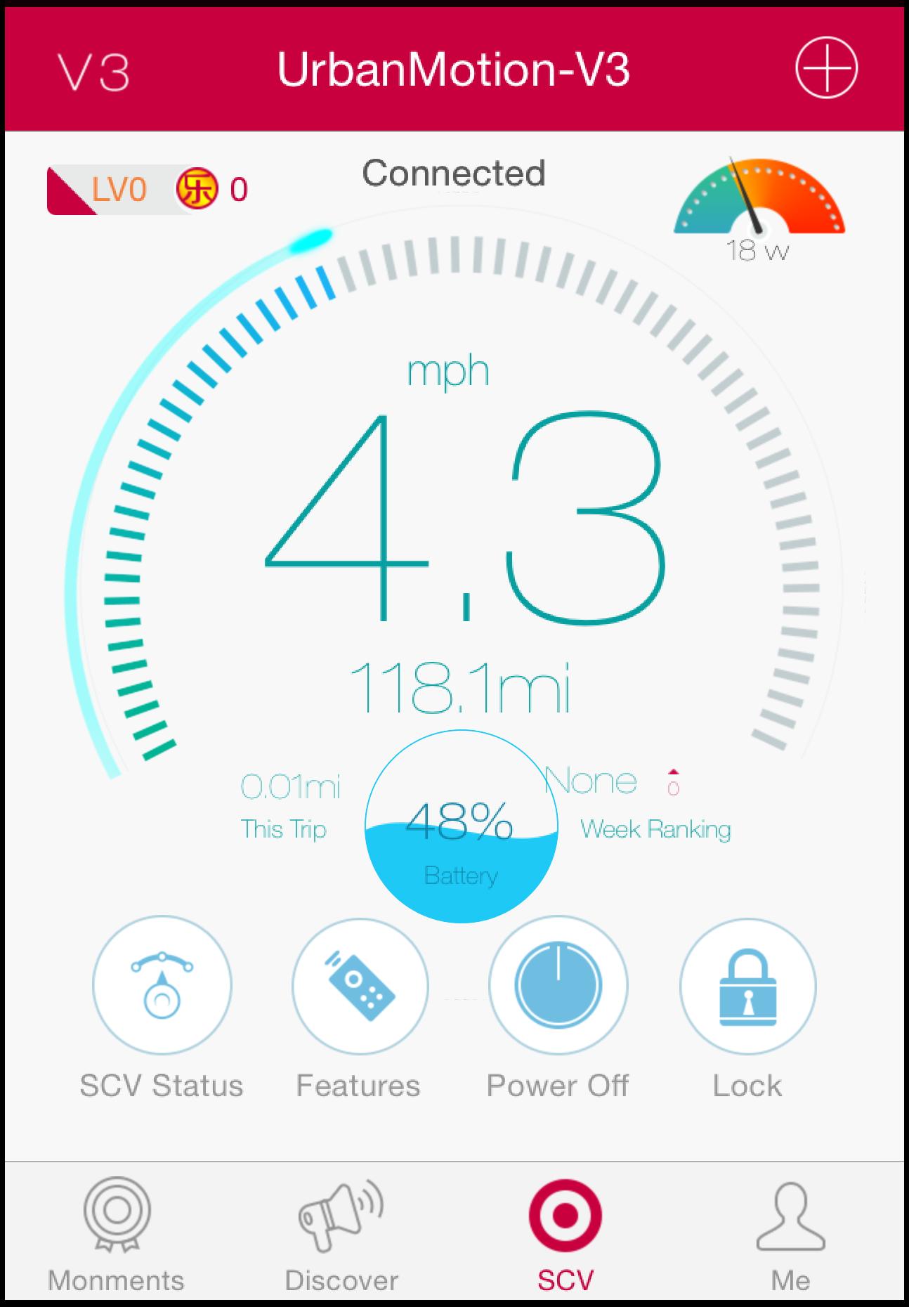 I appen kan du även se aktuell hastighet (i Miles).