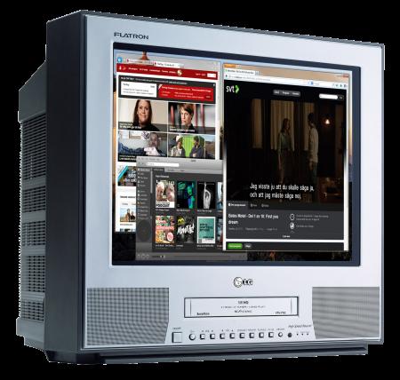 Via antennsladden går det att sända datorbilder även till äldre tv-apparater med digitalbox.