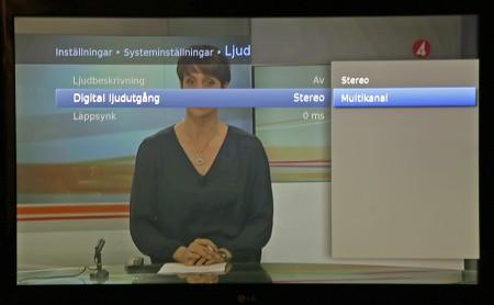 Vilket ljud på tv-sändningarna som ska användas ställer du först in i tevemottagaren. Därefter kan du testa olika inställningar i bioförstärkaren om det inte låter bra.