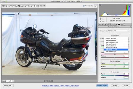 De skapade och namngivna profilerna hittas bland kameraprofilerna i Adobe-programmen.